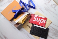 supreme x lv card holder real leather with box
