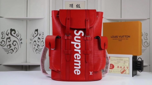 supreme x lv backpack real leather with box