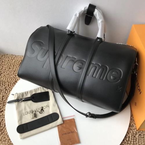 supreme x lv duffle real leather with box