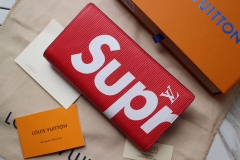supreme x lv long wallets real leather with box